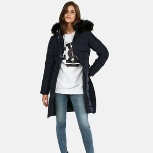 NEW EXPRESS $228 NAVY BLUE LONG BELTED PUFFER COAT